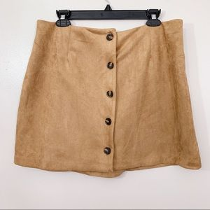 Wild Fable Tan Faux Suede Button Front Mini Skirt